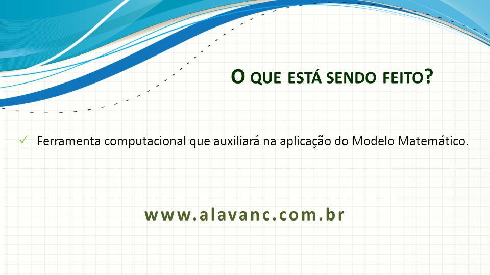 O QUE ESTÁ SENDO FEITO ? Ferramenta computacional que auxiliará na aplicação do Modelo Matemático. www.alavanc.com.br