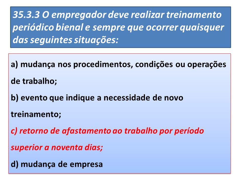 a) mudança nos procedimentos, condições ou operações de trabalho; b) evento que indique a necessidade de novo treinamento; c) retorno de afastamento a