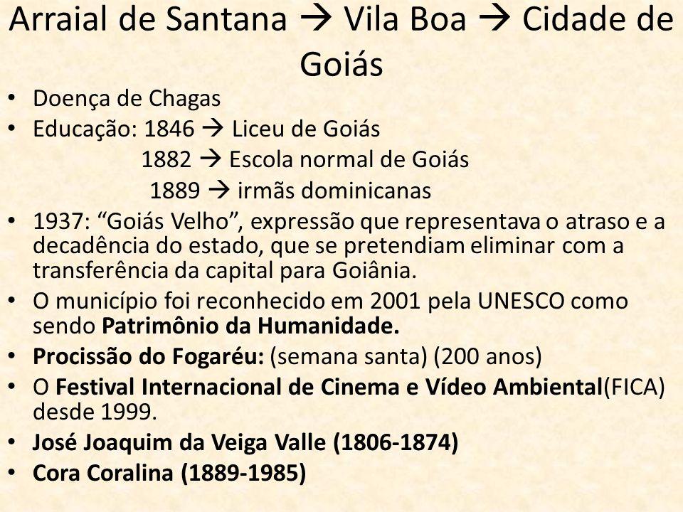 Arraial de Santana Vila Boa Cidade de Goiás Doença de Chagas Educação: 1846 Liceu de Goiás 1882 Escola normal de Goiás 1889 irmãs dominicanas 1937: Go