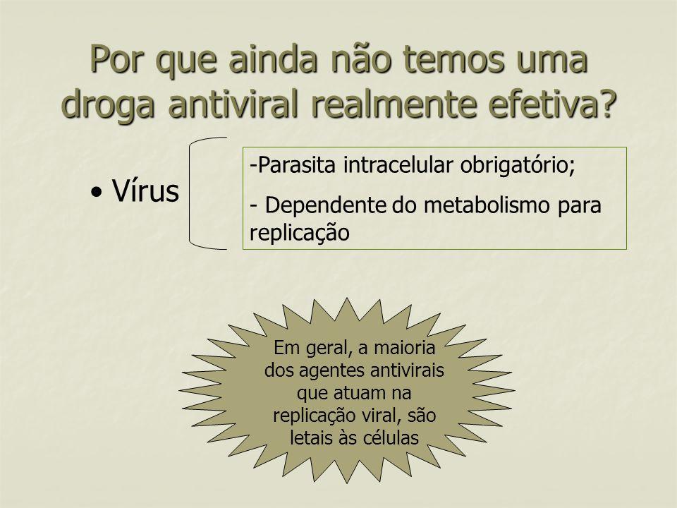 Por que ainda não temos uma droga antiviral realmente efetiva? Vírus -Parasita intracelular obrigatório; - Dependente do metabolismo para replicação E