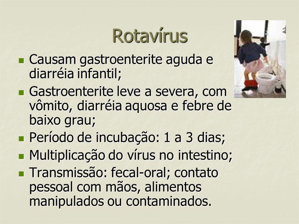 Rotavírus Causam gastroenterite aguda e diarréia infantil; Causam gastroenterite aguda e diarréia infantil; Gastroenterite leve a severa, com vômito,
