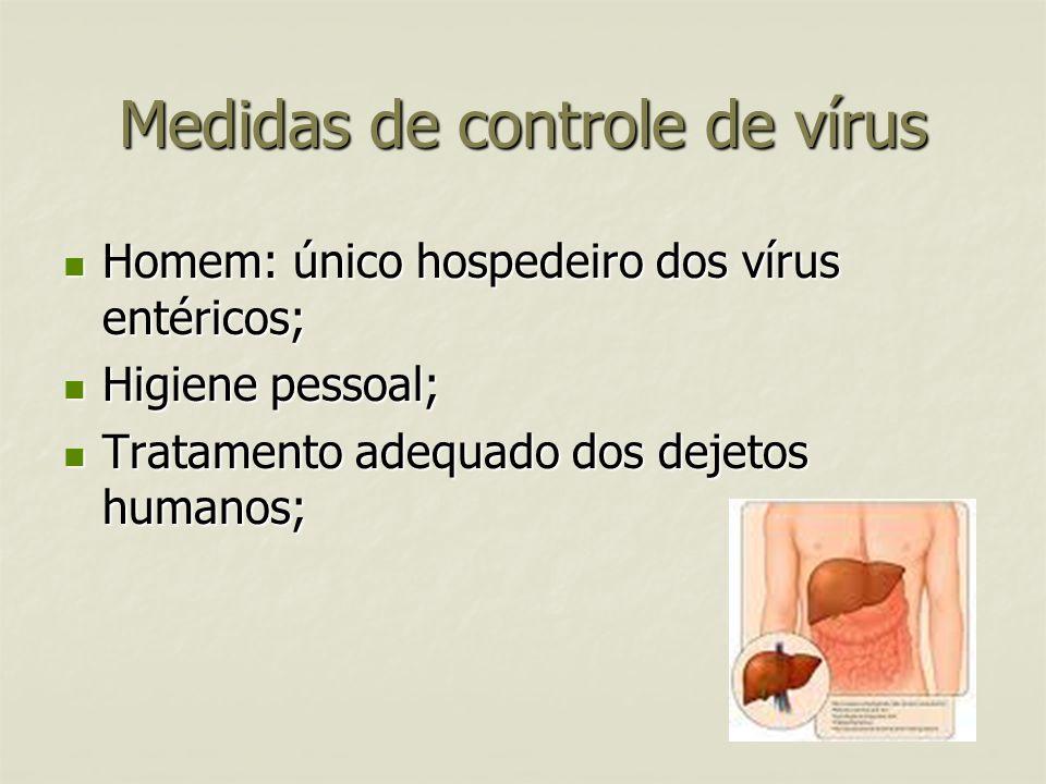 Medidas de controle de vírus Homem: único hospedeiro dos vírus entéricos; Homem: único hospedeiro dos vírus entéricos; Higiene pessoal; Higiene pessoa