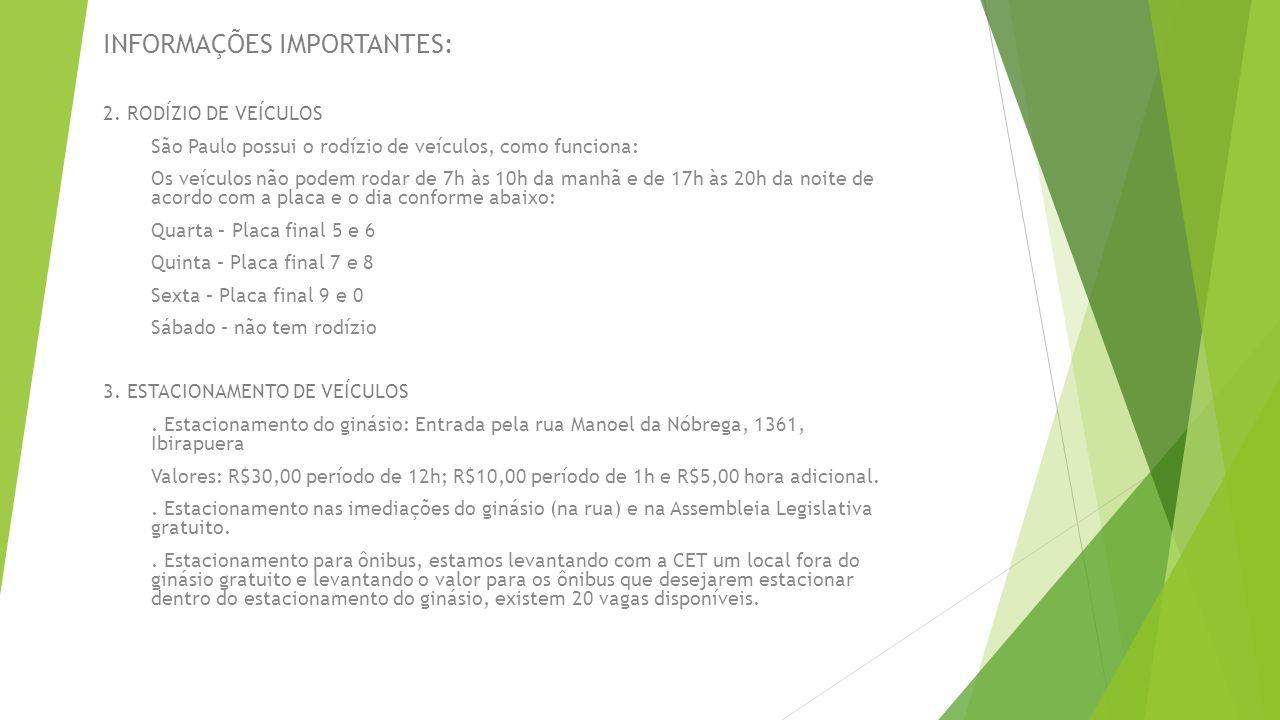 INFORMAÇÕES IMPORTANTES: 2. RODÍZIO DE VEÍCULOS São Paulo possui o rodízio de veículos, como funciona: Os veículos não podem rodar de 7h às 10h da man