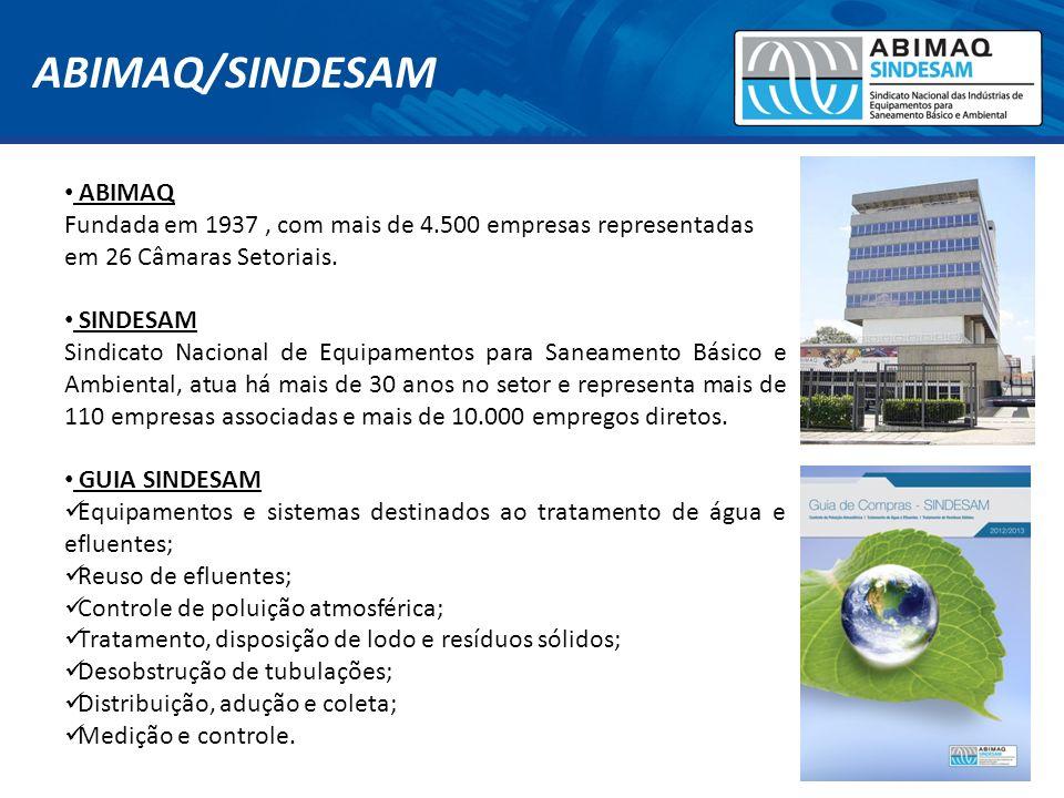 ABIMAQ Fundada em 1937, com mais de 4.500 empresas representadas em 26 Câmaras Setoriais. SINDESAM Sindicato Nacional de Equipamentos para Saneamento