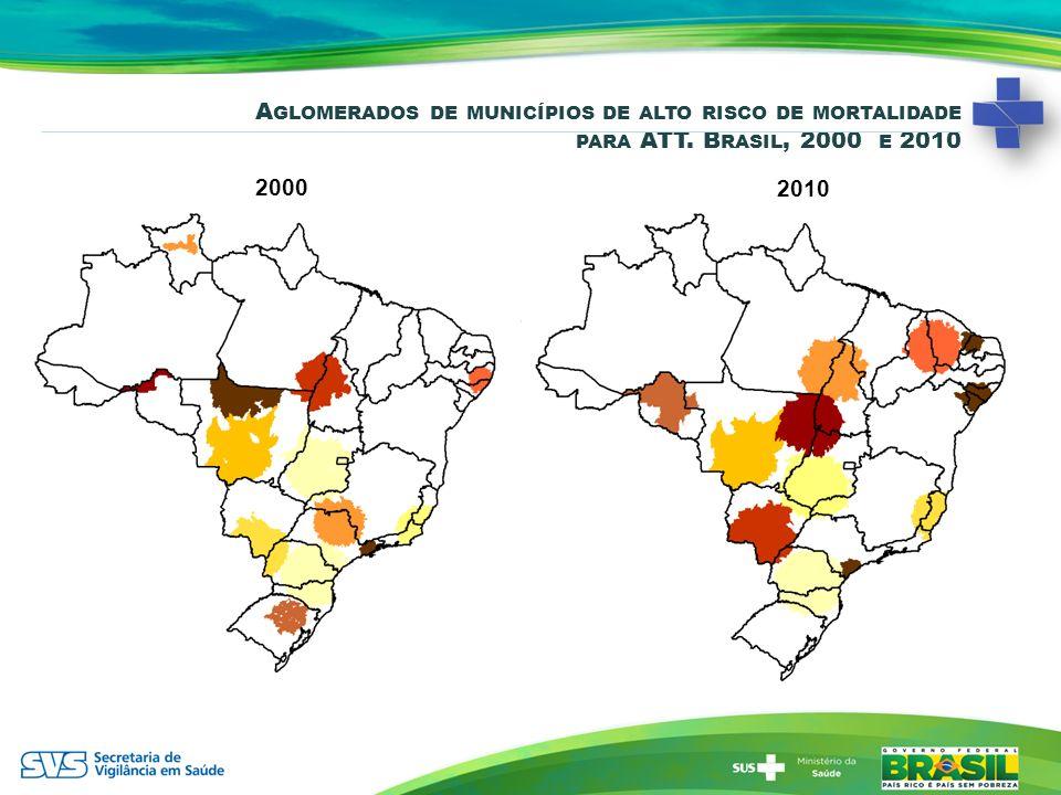 A GLOMERADOS DE MUNICÍPIOS DE ALTO RISCO DE MORTALIDADE PARA ATT. B RASIL, 2000 E 2010 2000 2010