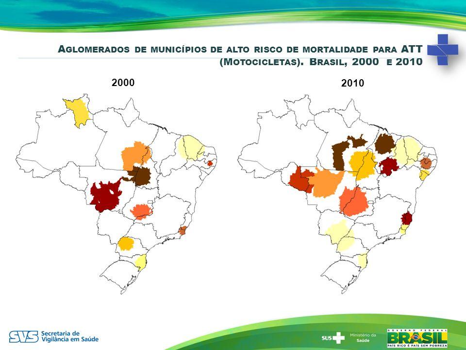 2000 A GLOMERADOS DE MUNICÍPIOS DE ALTO RISCO DE MORTALIDADE PARA ATT (M OTOCICLETAS ). B RASIL, 2000 E 2010