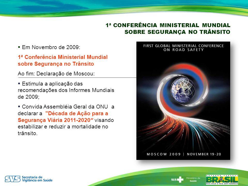1ª CONFERÊNCIA MINISTERIAL MUNDIAL SOBRE SEGURANÇA NO TRÂNSITO Em Novembro de 2009: 1ª Conferência Ministerial Mundial sobre Segurança no Trânsito Ao