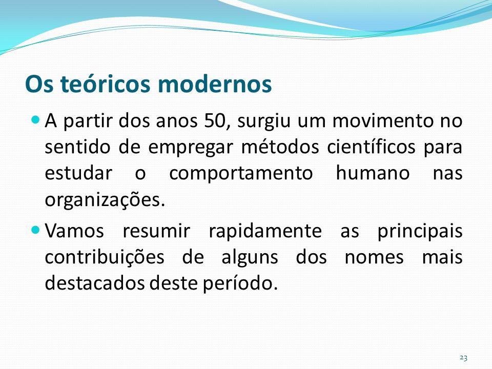 Os teóricos modernos A partir dos anos 50, surgiu um movimento no sentido de empregar métodos científicos para estudar o comportamento humano nas organizações.