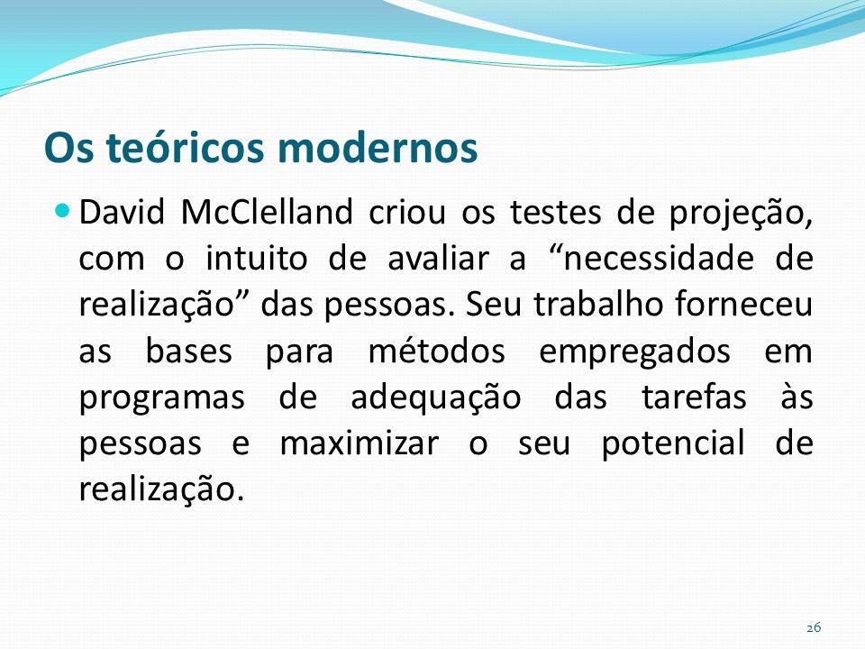 Os teóricos modernos David McClelland criou os testes de projeção, com o intuito de avaliar a necessidade de realização das pessoas.