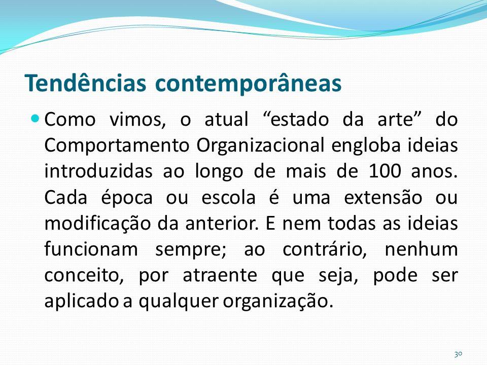 Tendências contemporâneas Como vimos, o atual estado da arte do Comportamento Organizacional engloba ideias introduzidas ao longo de mais de 100 anos.