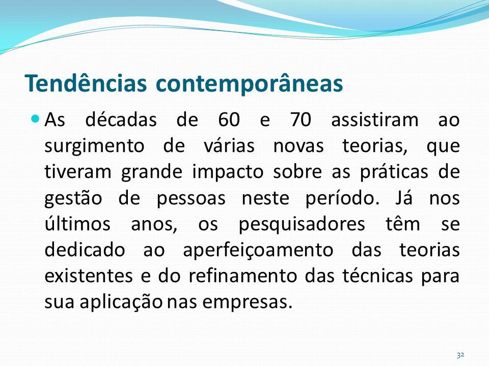 Tendências contemporâneas As décadas de 60 e 70 assistiram ao surgimento de várias novas teorias, que tiveram grande impacto sobre as práticas de gestão de pessoas neste período.