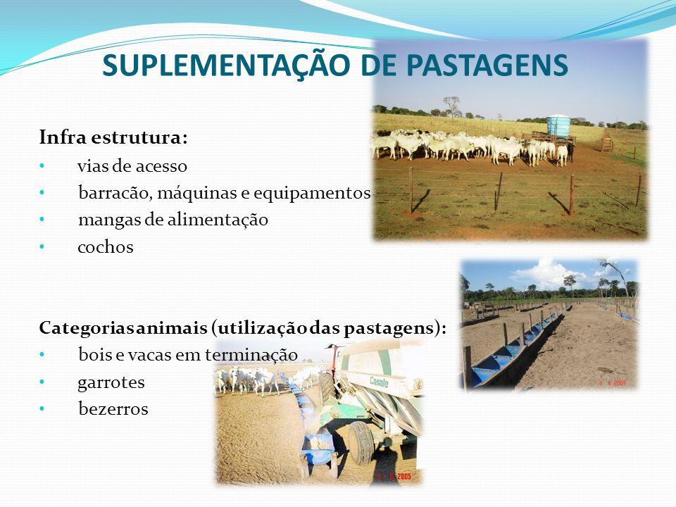 SUPLEMENTAÇÃO DE PASTAGENS Infra estrutura: vias de acesso barracão, máquinas e equipamentos mangas de alimentação cochos Categorias animais (utilizaç