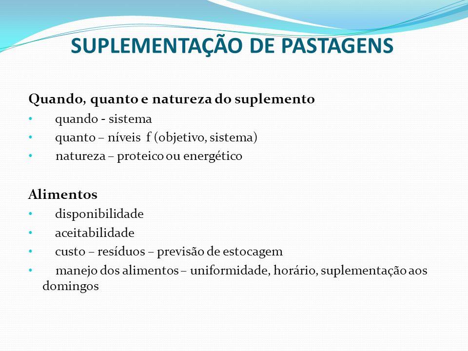 SUPLEMENTAÇÃO DE PASTAGENS Quando, quanto e natureza do suplemento quando - sistema quanto – níveis f (objetivo, sistema) natureza – proteico ou energ