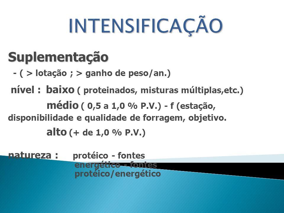 Suplementação - ( > lotação ; > ganho de peso/an.) nível : baixo ( proteinados, misturas múltiplas,etc.) médio ( 0,5 a 1,0 % P.V.) - f (estação, dispo