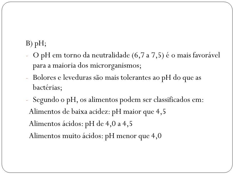B) pH; - O pH em torno da neutralidade (6,7 a 7,5) é o mais favorável para a maioria dos microrganismos; - Bolores e leveduras são mais tolerantes ao