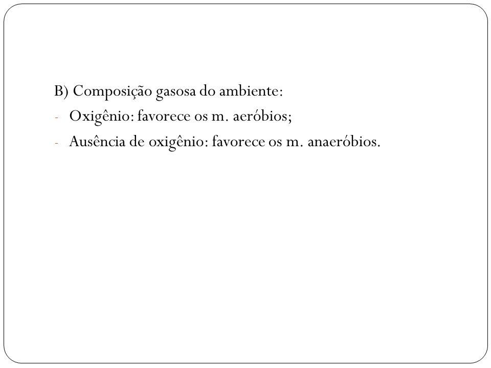 B) Composição gasosa do ambiente: - Oxigênio: favorece os m. aeróbios; - Ausência de oxigênio: favorece os m. anaeróbios.