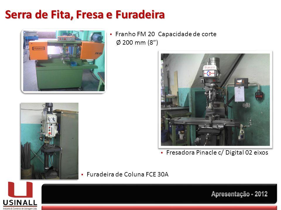Serra de Fita, Fresa e Furadeira Fresadora Pinacle c/ Digital 02 eixos Franho FM 20 Capacidade de corte Ø 200 mm (8) Furadeira de Coluna FCE 30A