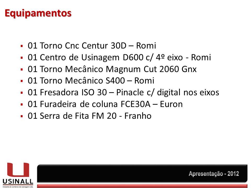 Equipamentos 01 Torno Cnc Centur 30D – Romi 01 Centro de Usinagem D600 c/ 4º eixo - Romi 01 Torno Mecânico Magnum Cut 2060 Gnx 01 Torno Mecânico S400