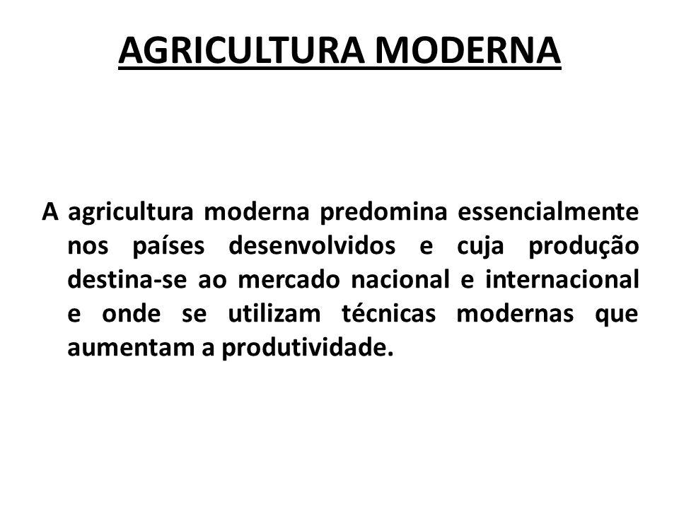 AGRICULTURA MODERNA A agricultura moderna predomina essencialmente nos países desenvolvidos e cuja produção destina-se ao mercado nacional e internaci