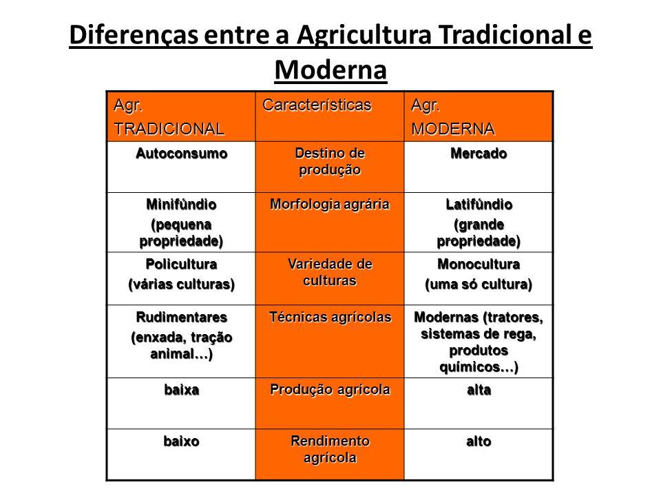 Diferenças entre a Agricultura Tradicional e Moderna Agr.TRADICIONALCaracterísticasAgr.MODERNA Autoconsumo Destino de produção Mercado Minifúndio (peq