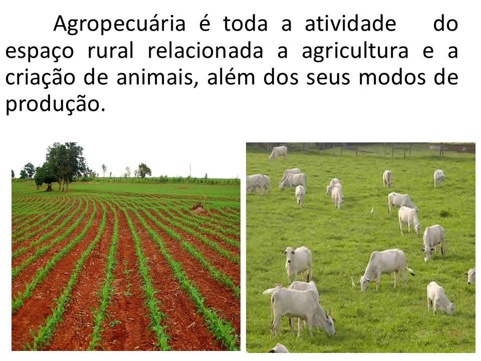 Agropecuária é toda a atividade do espaço rural relacionada a agricultura e a criação de animais, além dos seus modos de produção.