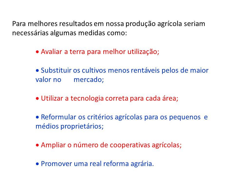Para melhores resultados em nossa produção agrícola seriam necessárias algumas medidas como: Avaliar a terra para melhor utilização; Substituir os cul