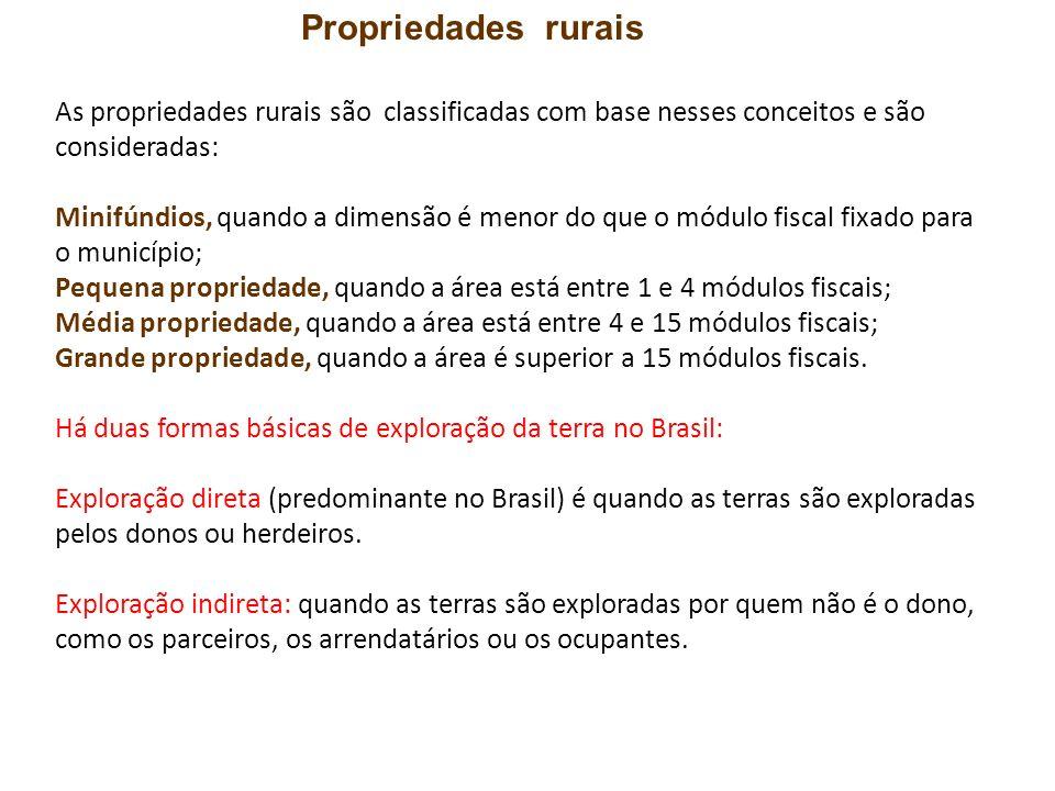 As propriedades rurais são classificadas com base nesses conceitos e são consideradas: Minifúndios, quando a dimensão é menor do que o módulo fiscal f