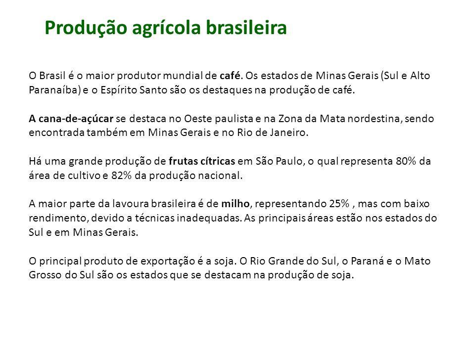 O Brasil é o maior produtor mundial de café. Os estados de Minas Gerais (Sul e Alto Paranaíba) e o Espírito Santo são os destaques na produção de café
