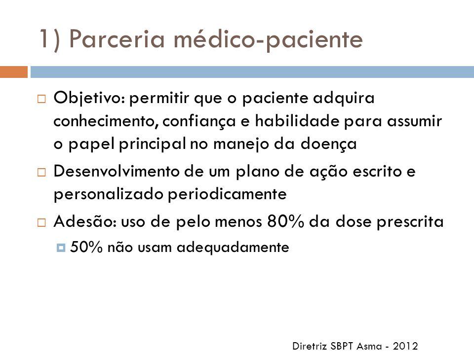 1) Parceria médico-paciente Objetivo: permitir que o paciente adquira conhecimento, confiança e habilidade para assumir o papel principal no manejo da