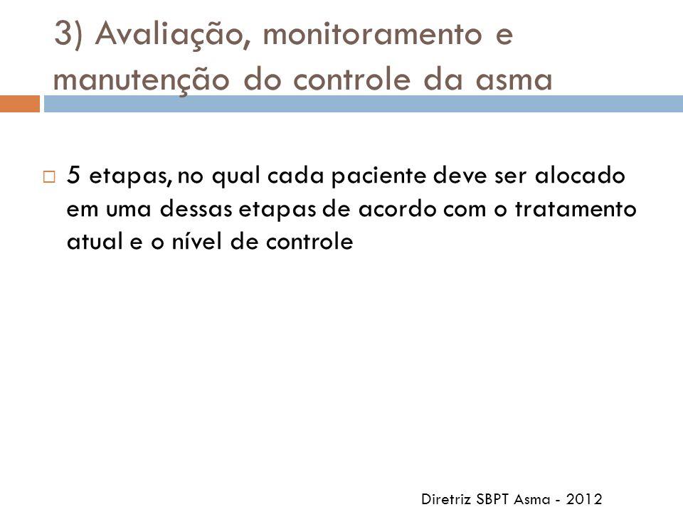 3) Avaliação, monitoramento e manutenção do controle da asma 5 etapas, no qual cada paciente deve ser alocado em uma dessas etapas de acordo com o tra