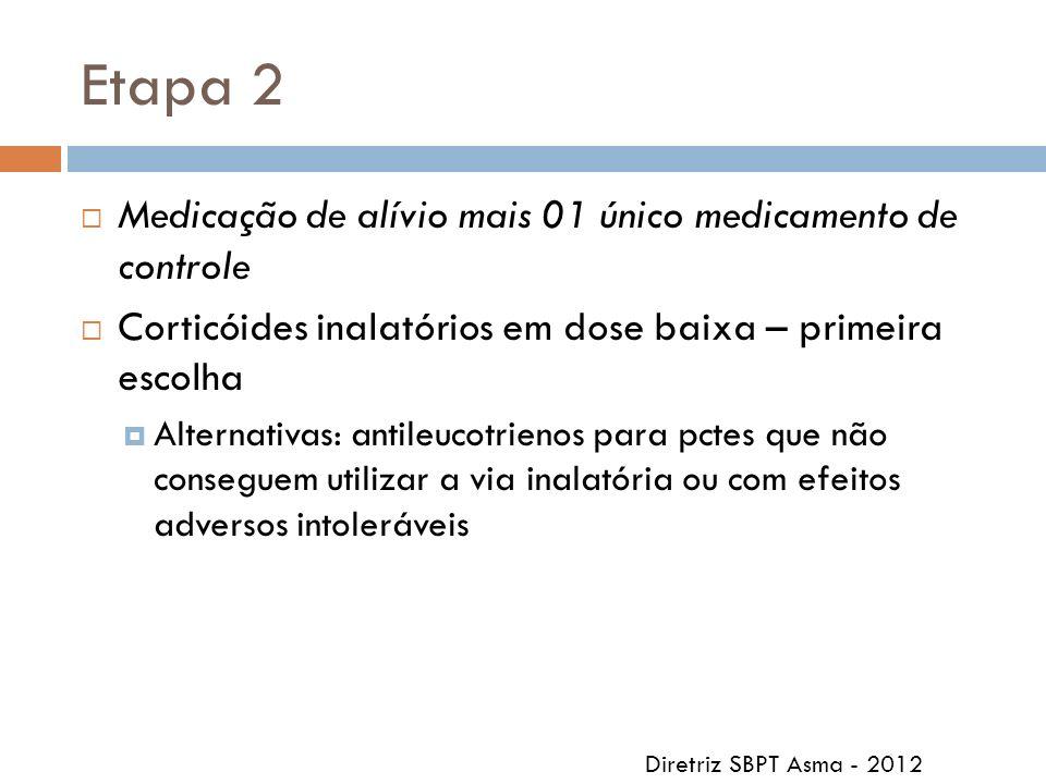 Etapa 2 Medicação de alívio mais 01 único medicamento de controle Corticóides inalatórios em dose baixa – primeira escolha Alternativas: antileucotrie