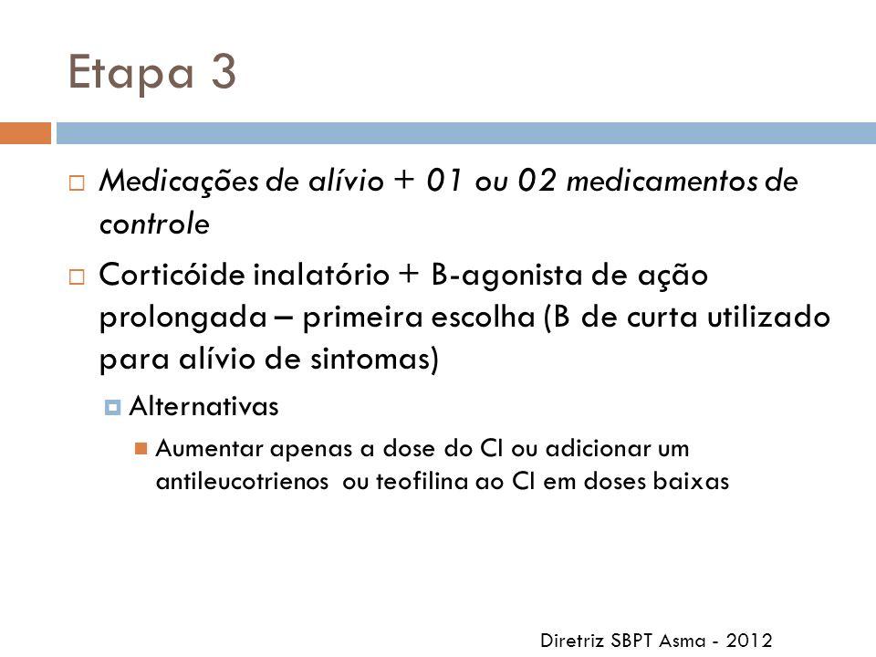 Etapa 3 Medicações de alívio + 01 ou 02 medicamentos de controle Corticóide inalatório + B-agonista de ação prolongada – primeira escolha (B de curta