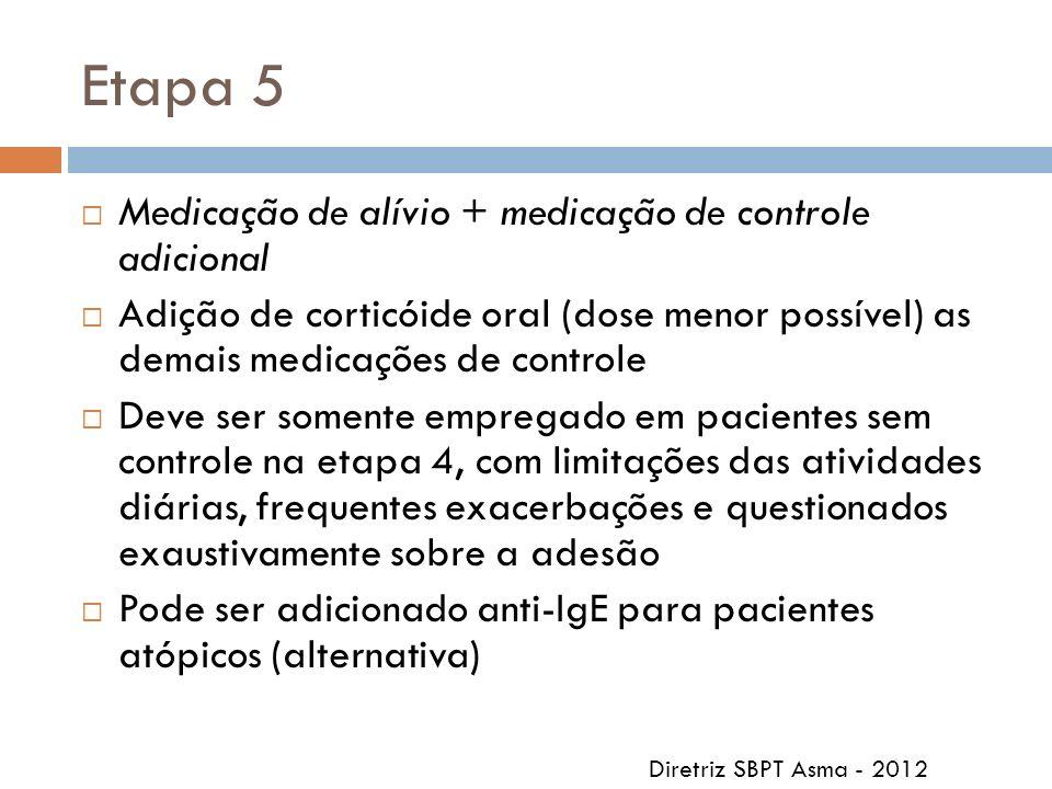 Etapa 5 Medicação de alívio + medicação de controle adicional Adição de corticóide oral (dose menor possível) as demais medicações de controle Deve se