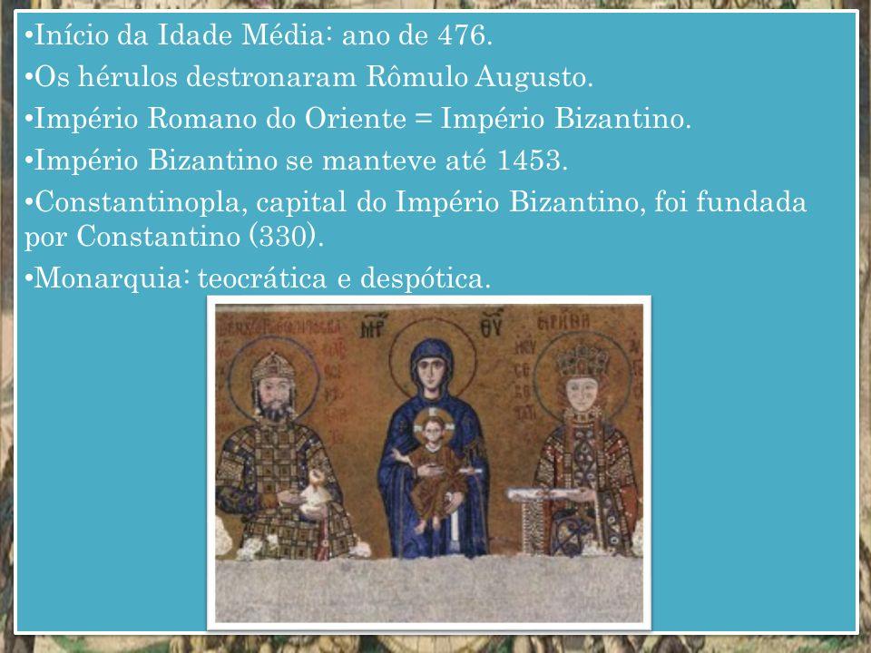 Início da Idade Média: ano de 476.Os hérulos destronaram Rômulo Augusto.