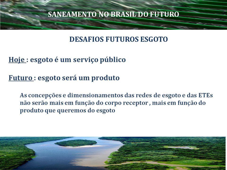 Hoje : esgoto é um serviço público Futuro : esgoto será um produto As concepções e dimensionamentos das redes de esgoto e das ETEs não serão mais em f