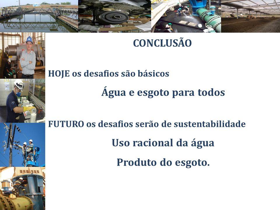 HOJE os desafios são básicos Água e esgoto para todos FUTURO os desafios serão de sustentabilidade Uso racional da água Produto do esgoto. CONCLUSÃO