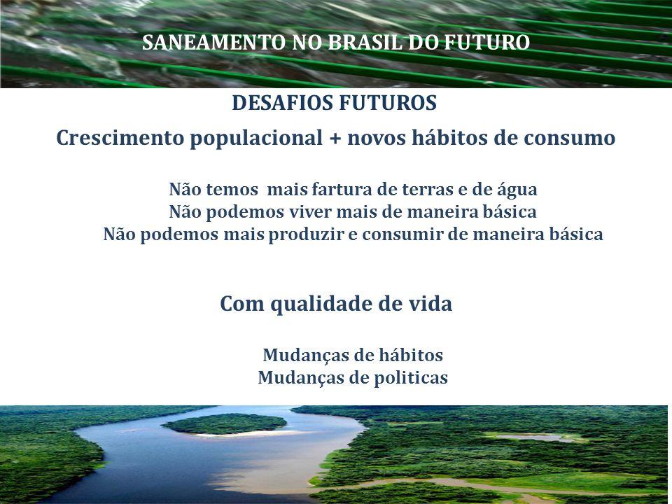 Hoje : cobrança da água pelo consumo Futuro : cobrança da água pelo uso sustentável Quanto mais sustentável o uso mais barata será a água DESAFIOS FUTUROS ÁGUA SANEAMENTO NO BRASIL DO FUTURO