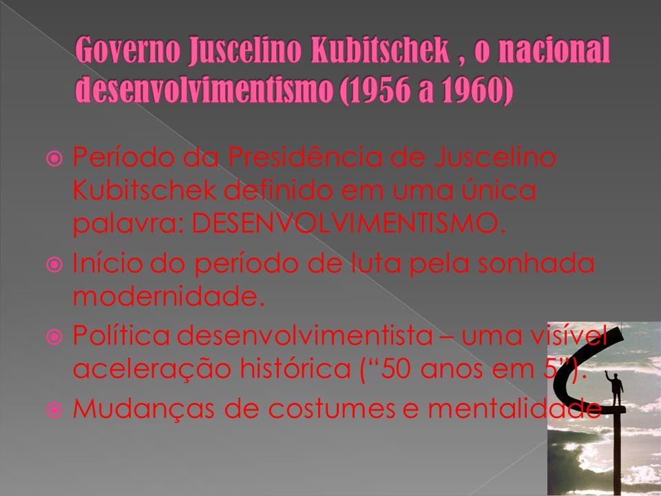 Período da Presidência de Juscelino Kubitschek definido em uma única palavra: DESENVOLVIMENTISMO. Início do período de luta pela sonhada modernidade.