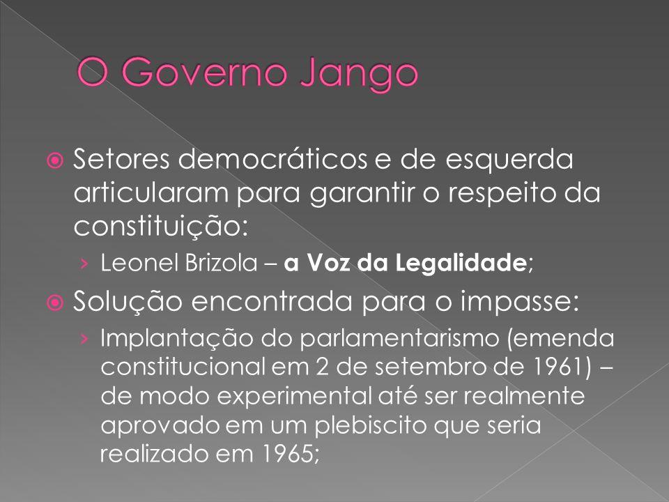 Setores democráticos e de esquerda articularam para garantir o respeito da constituição: Leonel Brizola – a Voz da Legalidade ; Solução encontrada par
