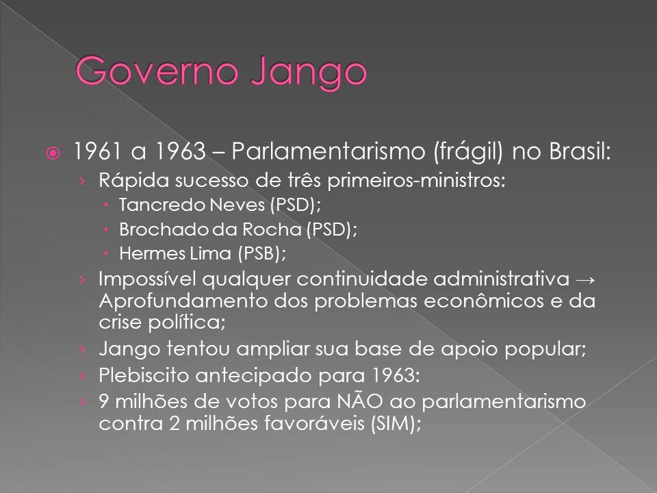1961 a 1963 – Parlamentarismo (frágil) no Brasil: Rápida sucesso de três primeiros-ministros: Tancredo Neves (PSD); Brochado da Rocha (PSD); Hermes Li
