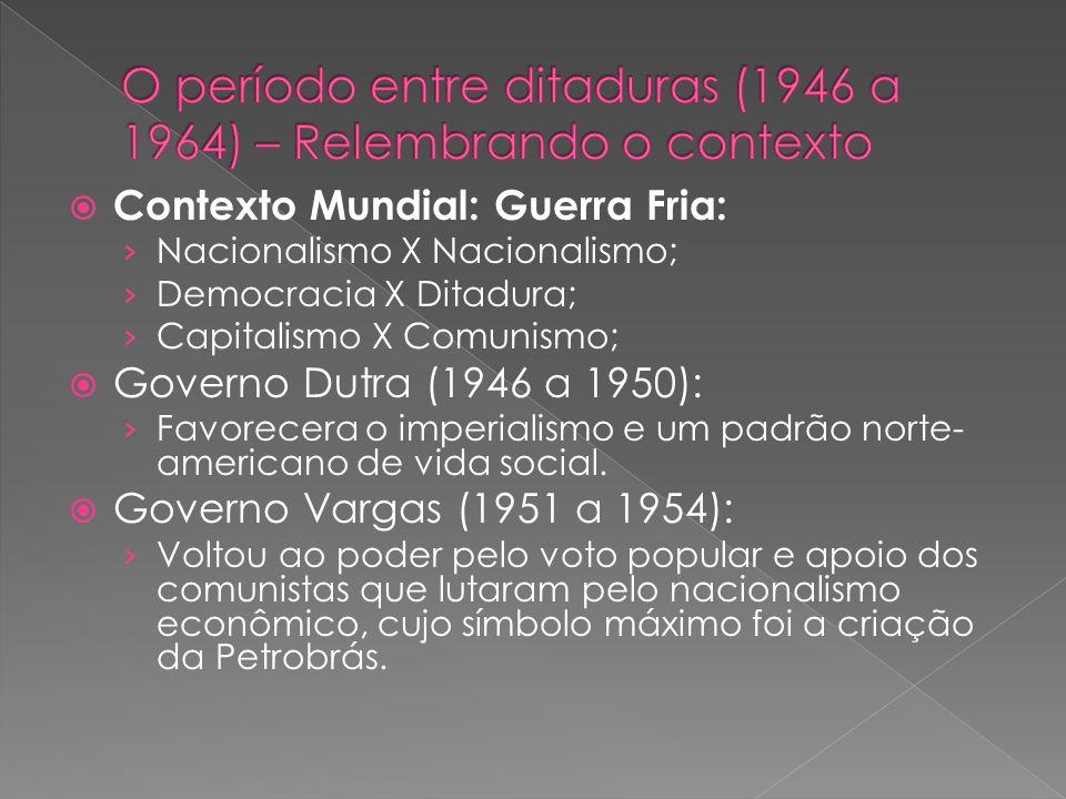 Contexto Mundial: Guerra Fria: Nacionalismo X Nacionalismo; Democracia X Ditadura; Capitalismo X Comunismo; Governo Dutra (1946 a 1950): Favorecera o