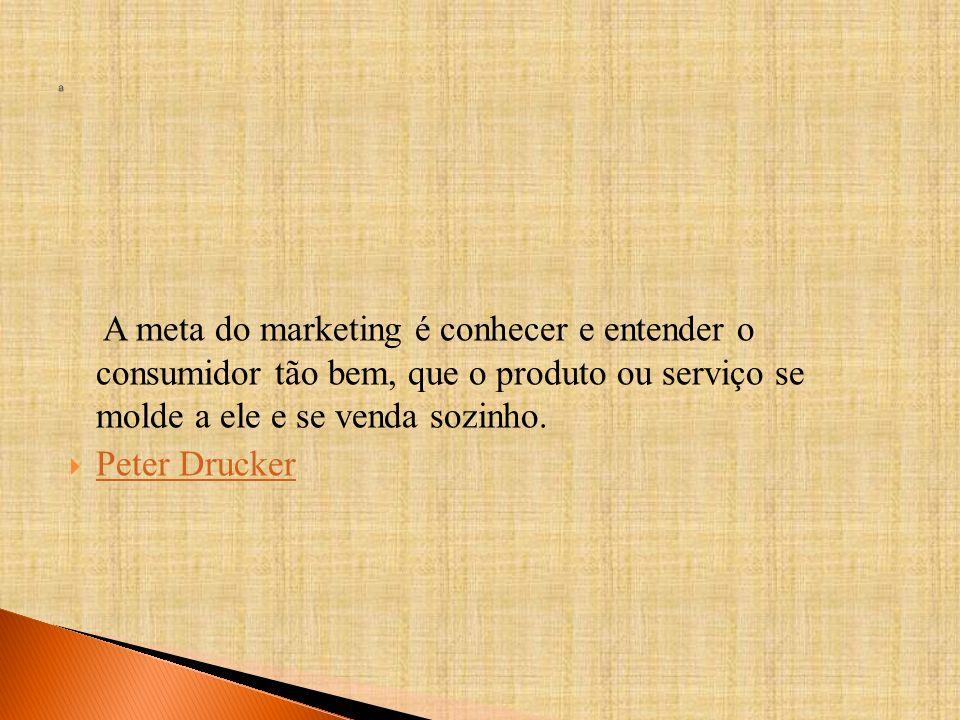 A meta do marketing é conhecer e entender o consumidor tão bem, que o produto ou serviço se molde a ele e se venda sozinho.