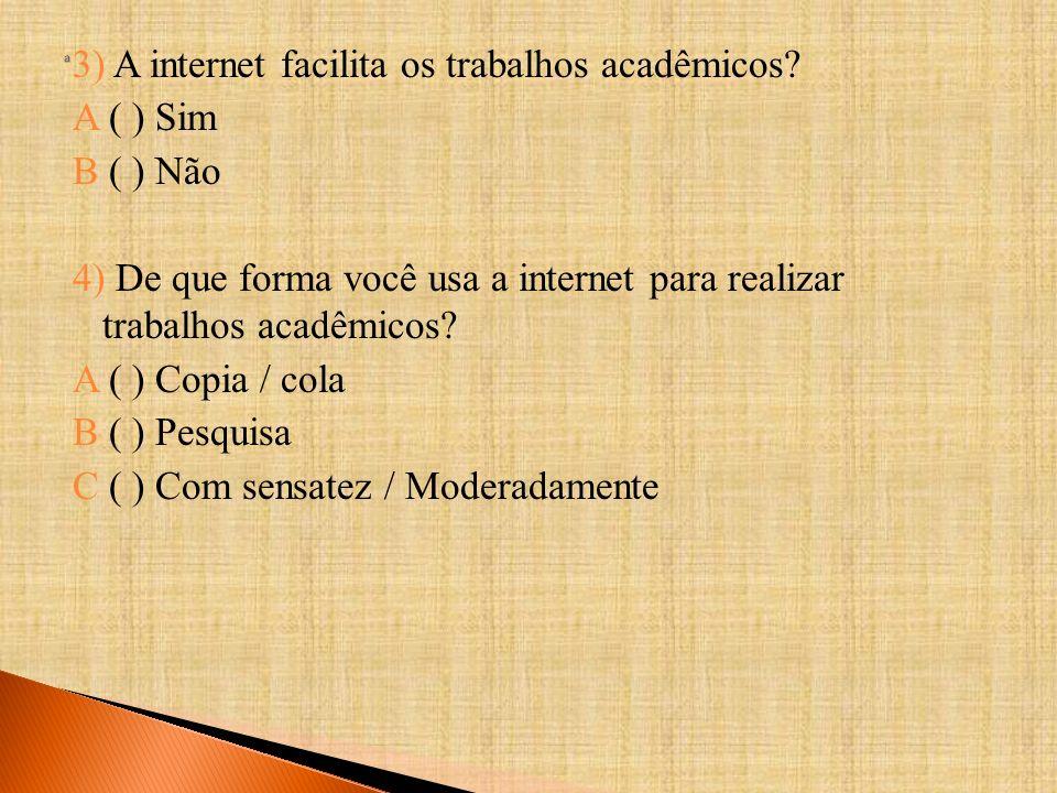 3) A internet facilita os trabalhos acadêmicos.