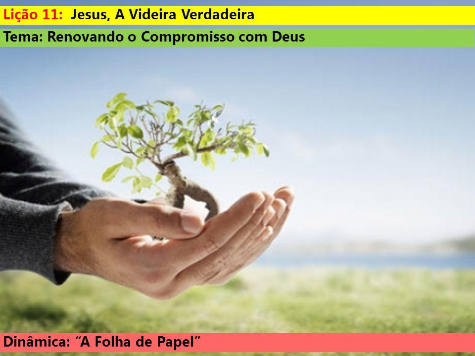 Tema: Renovando o Compromisso com Deus Dinâmica: A Folha de Papel Lição 11: Jesus, A Videira Verdadeira