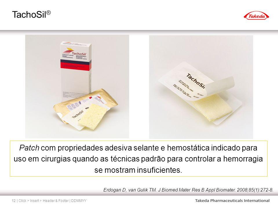 TachoSil ® | Click > Insert > Header & Footer | DDMMYY12 Patch com propriedades adesiva selante e hemostática indicado para uso em cirurgias quando as