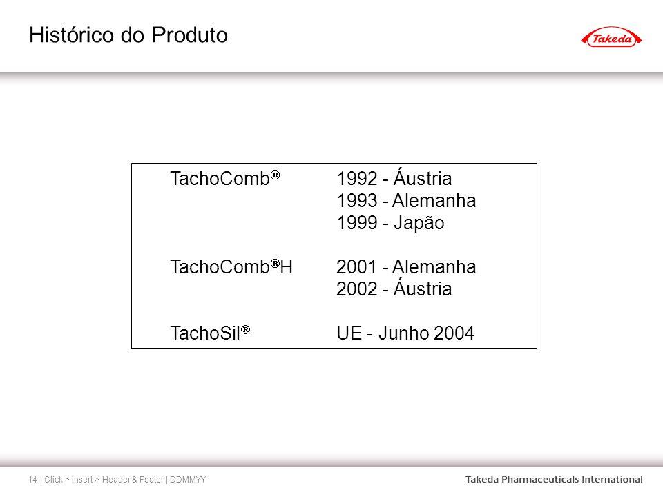 Histórico do Produto | Click > Insert > Header & Footer | DDMMYY14 TachoComb 1992 - Áustria 1993 - Alemanha 1999 - Japão TachoComb H2001 - Alemanha 20
