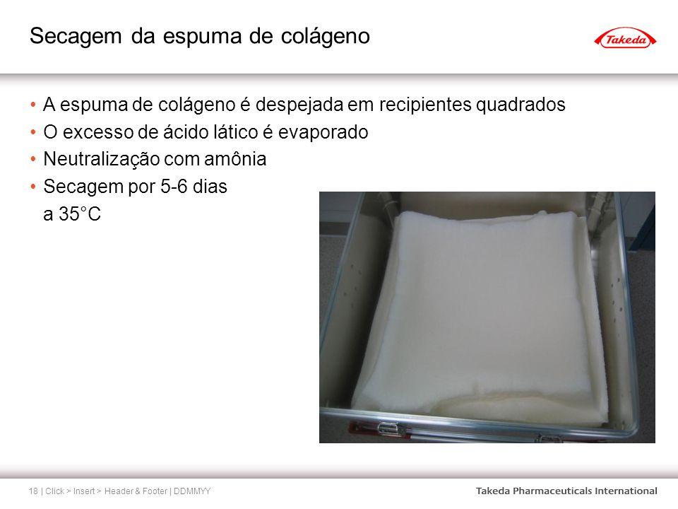 Secagem da espuma de colágeno | Click > Insert > Header & Footer | DDMMYY18 A espuma de colágeno é despejada em recipientes quadrados O excesso de áci