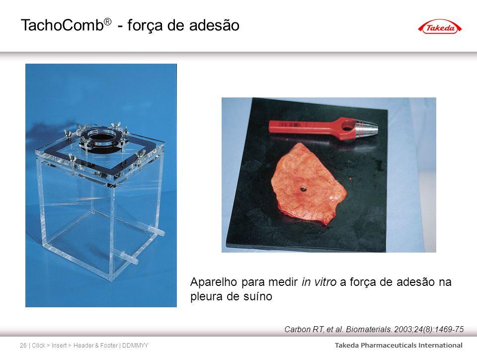 TachoComb ® - força de adesão | Click > Insert > Header & Footer | DDMMYY26 Aparelho para medir in vitro a força de adesão na pleura de suíno Carbon R