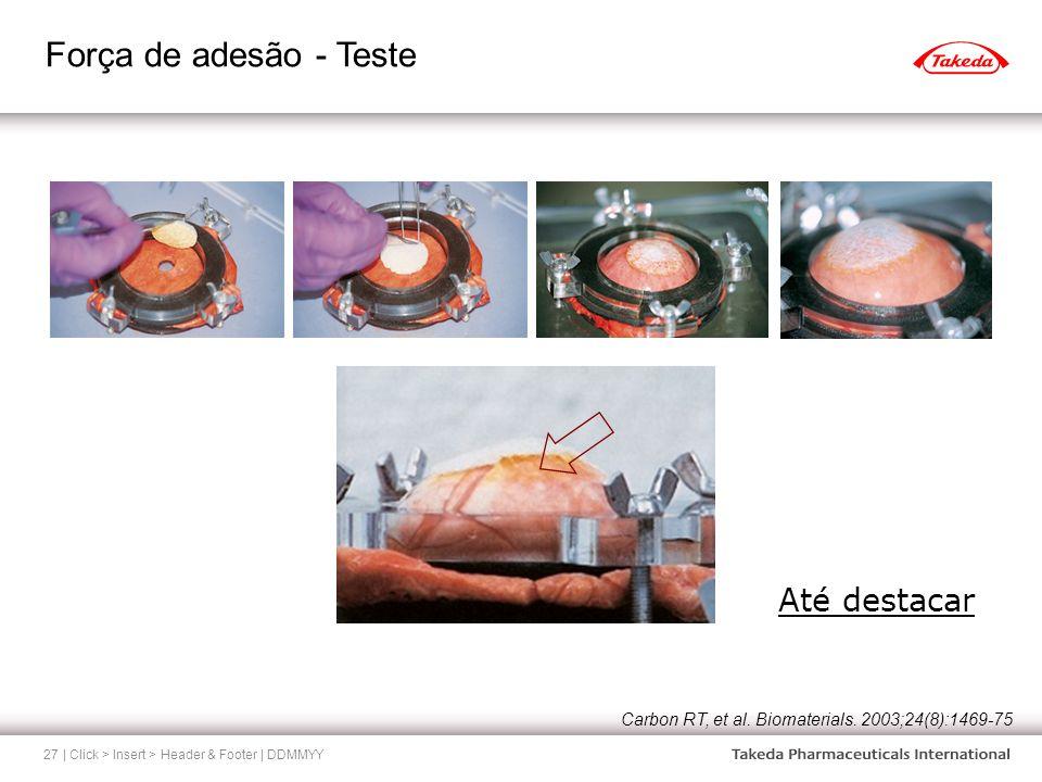 Força de adesão - Teste | Click > Insert > Header & Footer | DDMMYY27 Até destacar Carbon RT, et al. Biomaterials. 2003;24(8):1469-75