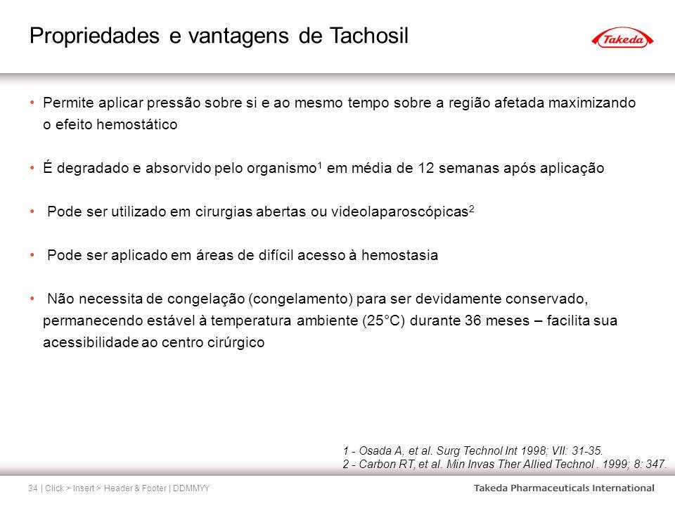 Propriedades e vantagens de Tachosil | Click > Insert > Header & Footer | DDMMYY34 Permite aplicar pressão sobre si e ao mesmo tempo sobre a região af